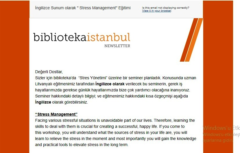 biblioteka seminer: Stress Management Workshop (İngilizce)